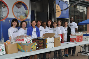 Volunteer with the mobile food pantry