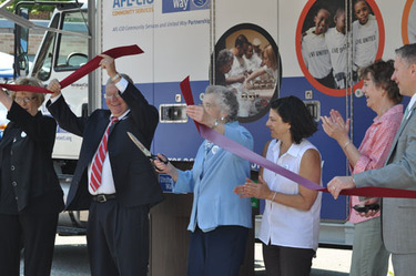 Cutting the ribbon on our new mobile food pantry